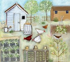 I LOVE this kind of illustration / drawing / painting! Louise Rawlings illustration for 'All the little chickens in the garden' Original Art For Sale, Original Artwork, Gardening Photography, Garden Illustration, Retro Illustration, Arte Country, Naive Art, Illustrations, Garden Art