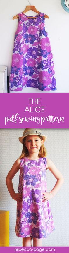 Alice – Reversible A-line Dress Sewing Pattern PDF sewing pattern – This sewing pattern & tutorial will teach you how to make the perfect a-line reversible dress. Pattern includes sizes newborn to 12 years. Kids Clothes Patterns, Clothing Patterns, Dress Patterns, Print Patterns, Kids Patterns, Dress Sewing, Sewing Clothes, Reversible Dress, Pdf Sewing Patterns