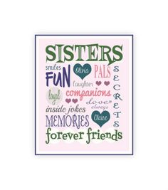 Sisters Print - Instant Download, Personalized Sister Gift, Last Minute Gift - 8x10... for the twins?