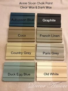 My Annie Sloan Chalk Paint Color Boards. Annie Sloan Chalk Paint is a great way to up cycle some drab furniture.