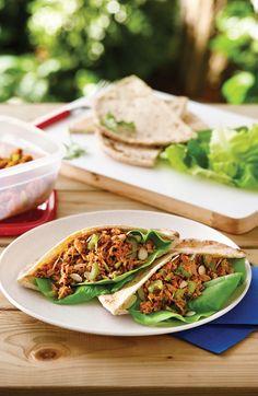 Le thon est une excellente source de protéines et d'oméga-3, qui possèdent des propriétés anti-inflammatoires. #recette de pitas au thon épicé