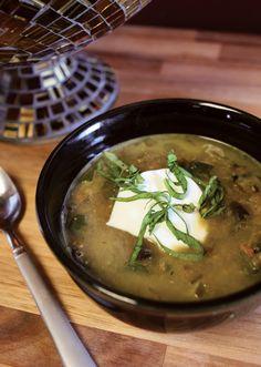 Recipe for mushroom and lentil vegetarian soup.