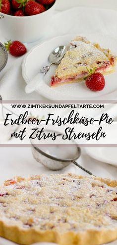 Köstlicher und einfacher Pie mit Cheesecake-Füllung, leckeren Erdbeeren und Zitronen-Streuseln- perfekter Sommerkuchen, leicht, fruchtig und lecker ... Ganz einfaches Rezept und schnell selber gebacken #Pie #Erdbeeren #Cheesecake #Streusel #einfach Strawberry-Cheescake pie with streusel