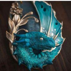 Magic aqua dragon 🐉For sale in my Etsy. Link in bio please Polymer Clay Dragon, Polymer Clay Crafts, Polymer Clay Jewelry, Dragons, Dragon Dreaming, Diy Accessoires, Dragon Figurines, Dragon Jewelry, Dragon Eye