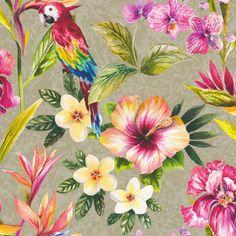 Tropical Parrot Floral Birds Metallic Effect Wallpaper | Departments | DIY at B&Q