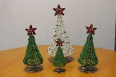 Christmas Trees | WireCraft Wire Art, Bead Art, Christmas Trees, Crochet Earrings, Drop Earrings, Diy, Xmas Trees, Bricolage, Drop Earring
