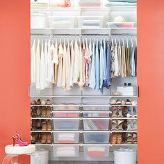 White elfa Chic Reach-In Closet - designed for wide reach-in closets Wall Shelf With Drawer, Drawer Shelves, Closet Shelves, Closet Storage, Wire Shelves, Elfa Shelving, Shop Shelving, Custom Shelving, Elfa Closet
