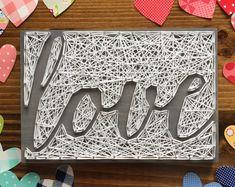 MADE TO ORDER String Art Script Love Sign   Reverse Stringing