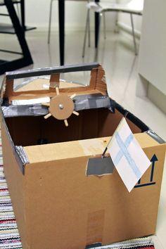 Pahvilaatikkovene, diy, askartelu.  Cardboardbox box, boat, diy.