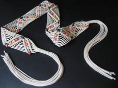 Vintage 70s Boho Macrame Belt Cream Woven Beaded with Fringe. $15.00, via Etsy.
