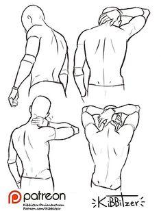 Anatomy Drawing Tutorial kibbitzer is creating paintings, tutorials, comics. Back Drawing, Guy Drawing, Drawing People, Drawing Tips, Drawing Lessons, Manga Drawing, Drawing Poses Male, Drawing Male Bodies, Drawing Hair