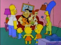 A Simpsons couch gag, The Simpsons come face to face with The Flintstones. (Simpsoncrazy.com)