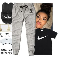 A fashion look from September 2016 featuring Abercrombie & Fitch activewear pants, NIKE sandals and BaubleBar tech accessories. Browse and shop related looks.