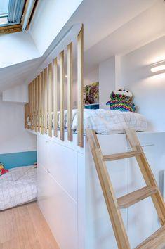 Attic Bedroom Storage, Mezzanine Bedroom, Attic Bedrooms, Girl Bedroom Designs, Girls Bedroom, Bohemian Living Rooms, Luxury Homes Interior, Interior Architecture, Loft Interiors