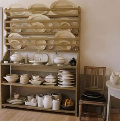 Wonderful Plate Rack, With Shelves, and Ironstone Collection.