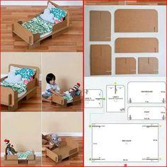 Toy Bed made of cardboard Cardboard Tube Crafts, Cardboard Playhouse, Cardboard Toys, Cardboard Furniture, Doll Furniture, Dollhouse Furniture, Recycled Crafts, Diy Crafts, Diy Crib