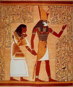Horus, le pharaon mythique, couronné du Pschent, Papyrus d'Ani, Nouvel Empire, British Museum
