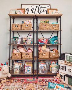Get Organized: Playroom Storage Cotton Stem Playroom Organization Cotton Organi… - Playroom Shelves, Playroom Organization, Playroom Decor, Organized Playroom, Kids Decor, Home Decor, Book Shelves, Playroom Ideas, Playroom Paint