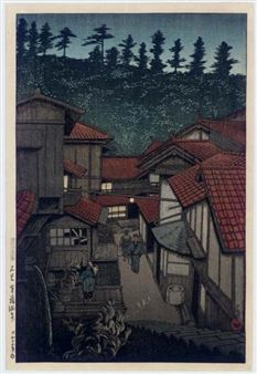 Iwami Yufuku Onsen (Yufuku Hotsprings, Iwami Province) By Kawase Hasui ,1924