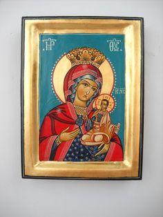 Madonna with Child JesusRomanian Byzantine Icon by DeniseClemenco, $200.00