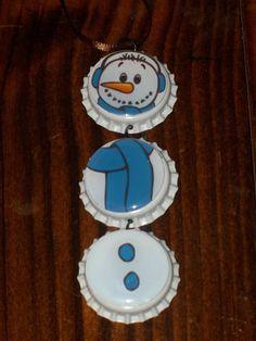 Christmas Snowman Bottle Cap Ornament