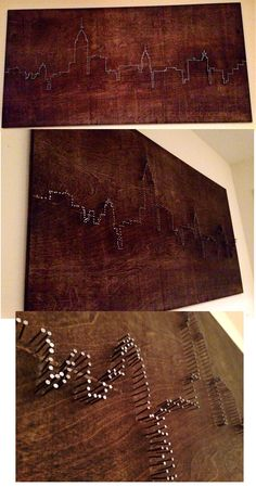 DIY Nail Art- New York City Skyline made from stained board and nails