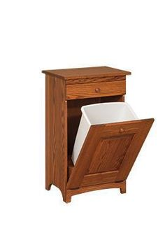 Amish Shaker Wooden Trash Bin with Drawer Here's how to make the garbage can look better! Includes a 36 quart trash bin. Built in choice of wood and stain. #trashbin #woodtrashbin #tilttrashbin
