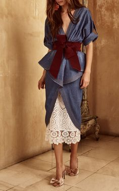 2610daea4f Nuevo Mexicana Denim Trench Coat by JOHANNA ORTIZ Now Available on Moda  Operandi Fashion 2018 Style