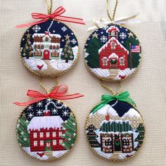 Needlepoint house round ornaments CH Designs for Danji Cross Stitch Christmas Ornaments, Xmas Cross Stitch, Cross Stitch Love, Diy Christmas Ornaments, Christmas Cross, Cross Stitch Embroidery, Cross Stitching, Needlepoint Stockings, Needlepoint Stitches