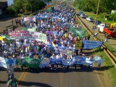 Ahora Misiones: La marcha esta arribando a la rotonda de Posadas