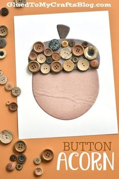 Button Acorn Kid Craft w/free printable template - perfect to celebrate this beautiful fall season with! Button Acorn Kid Craft w/free printable template - perfect to celebrate this beautiful fall season with! Button Crafts For Kids, Fall Crafts For Toddlers, Halloween Crafts For Kids, Toddler Crafts, Toddler Art, Acorn Crafts, Leaf Crafts, Fall Preschool, Preschool Crafts