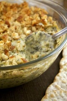 Artichoke Dip with potatoes as the secret ingredient for extra creaminess!