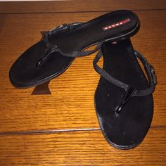 Prada flip flops Black Prada flip flops. Cute buckle on side. Prada Shoes Sandals