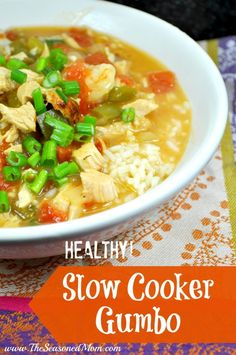 Healthy Slow Cooker Gumbo: shrimp, chicken, and sausage that your whole family will love!  The Seasoned Mom