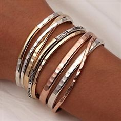 Handcrafted Thin Cuff Bracelets and Thick Cuff Bracelets from David Smallcombe - Sterling Silver, 14k Yellow Gold Filled, and 14k Rose Gold Filled