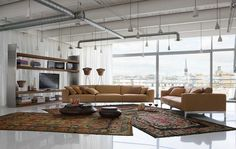 muebles de color calido en el salón moderno