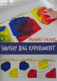 Mixing Primary colours squishy bag experiment - would be cute with the book mouse paint Kindergarten Science, Science Activities, Toddler Activities, Color Activities For Toddlers, Science Classroom, Science Experiments, Colour Activities Eyfs, Mouse Paint Activities, Science Centers