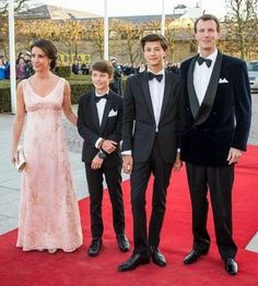 April 8 - (L-R)  Princess Marie, Prince Felix, Prince Nikolai and Prince Joachim of Denmark attend a Galla Show held in honor of HRH Queen Margarethe of Denmarks 75 Year Birthday on April 16, 2015 in Aarhus