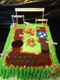 Obstacle course cake.
