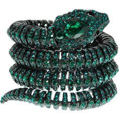 Roberto Cavalli Snake spiral bracelet (€1.040) ❤ liked on Polyvore featuring jewelry, bracelets, accessories, green, rings, druzy jewelry, roberto cavalli, metal jewelry, metal bangles and drusy jewelry