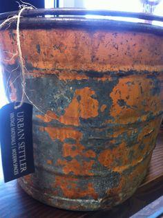Galvanized bucket with original paint