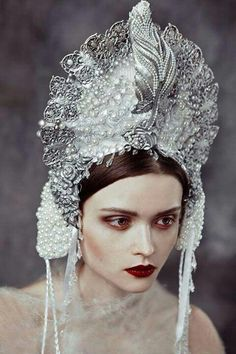 silver and pearl Indonesian style headpiece.