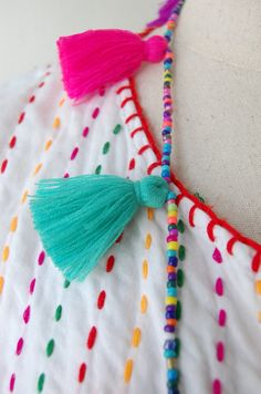 Colorful Tassel Necklace - You Choose Your Colors! Hand Embroidery Dress, Embroidery Neck Designs, Hand Embroidery Videos, Embroidery Suits Design, Simple Embroidery, Embroidery Fashion, Applique Designs, Embroidery Patterns, Baby Girl Dress Patterns