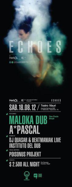 echoes hoy super fiesta en el teatro mauri ,,,,dnb/ funk and DUB music, con DJ LUY de sao pAulo//PAscal//Dj Quasar//beatmaniaks& instituto del Dub ///sabado 18 /// en Teatro mauri//Valparaiso///HerbalSession: