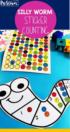FREE Silly Worm Count to 10 with Stickers - this free printable activity is a fun way for preschool, prek, and kindergarten age kids to practice counting preschool counting preschoolmath 234679830569317641 Numbers Preschool, Learning Numbers, Free Preschool, Preschool Learning, Preschool Crafts, Preschool Centers, Free Printables Preschool, Preschool Classroom, Math Centers