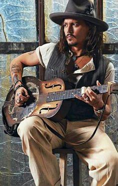 #Johnny_Depp playing vintage dobro type instument
