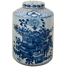 Large Antique Chinese Porcelain Tea Container | From a unique collection of antique and modern ceramics at https://www.1stdibs.com/furniture/asian-art-furniture/ceramics/