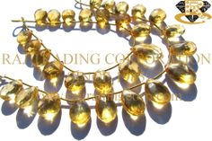 Citrine Faceted Pear (Quality A) Shape: Pear Faceted Length: 18 cm Weight Approx: 20 to 22 Grms. Size Approx: 10x12.5 to 13.5x17 mm Price $50.40 Each Strand