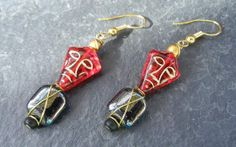 Red Tribal Mask Glass Bead Earrings Wrapped with Gold Tone Wire on Etsy, $14.00