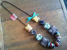 Fabrics necklace.made from indonesian traditional fabric,batik. Follow our twitter / instagram @LaireHandmade